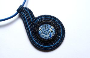 Blue beading necklace by MaladieMal