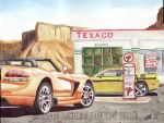 Dodge Viper And Challenger At Texaco (Painting) by FastLaneIllustration