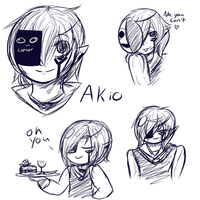 Akio Sketch Comms by 99fluffball