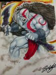 God of War copic marker con sketch by Sajad126