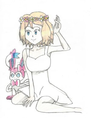 Flower crown Serena, and her Sylveon by Pikafan09