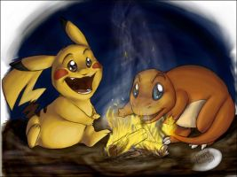 Pokemon campfire by Fakelore