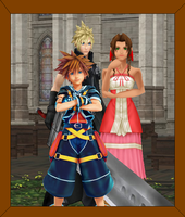 Strife Family Photo Frame (Aerith, Cloud and Sora) by FFSteF09