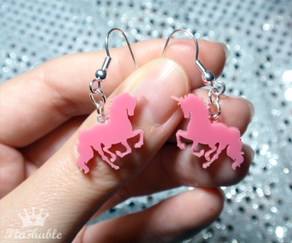 Pink Unicorn Earrings by voodoogrl