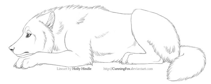 Free lineart - Sad wolf laying by CunningFox