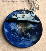 Earth and Space Shuttle Necklace by Forbiddenynforgotten