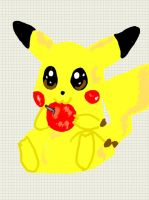 Pikachu eating an apple by Necrophilliacness