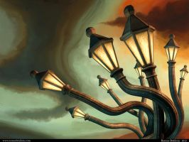 Drunk Streetlamps by Tesparg