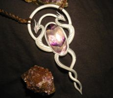 Silver Serpents Amulet - handmade Necklace by Ganjamira