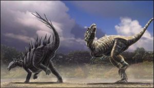 Lexovisaurus vs Allosaurus by dustdevil