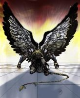 Kneeling Angel of War by Janigany
