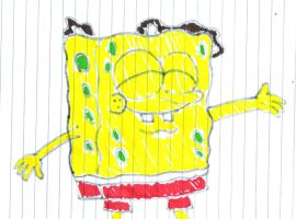 SpongeBob with poured milkshake on his head by SuperMarcosLucky96