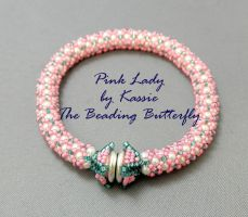 Pink Lady Netted Bracelet by beadg1rl