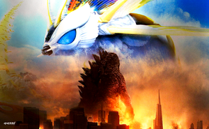 Godzilla vs. Mothra by elclon
