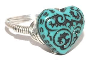 turquoise heart bead ring by julierosephoto