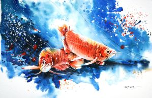 Speed painting - Arowana Fish by Abstractmusiq