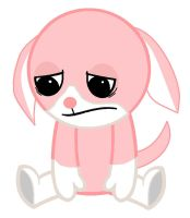 sad pink and white dog by webkinzlover1994