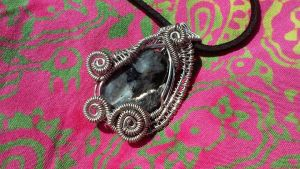 Natural Blue Labradorite Wire Wrapped Pendant Neck by TheTwistedIngot