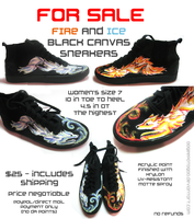 Sold - Fire and Ice Canines Canvas Sneakers by Oogeepatogoa