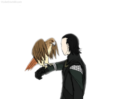 Loki and his hawk by GoreChick