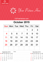 October 2015 Calendar Template Vector Free by 123freevectors