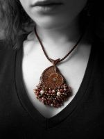 Bead embroidered ammonite pendant #2 by nikkichou