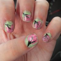 Cherry Blossom Nails by leafyloo
