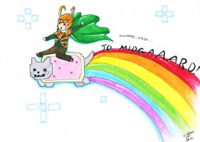 The adventures of Nyan Cat and Loki by AnzuAi