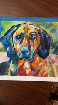 oil pastel dog by isaiahperry57