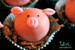 Close up Pig Cake Ball by SugiAi