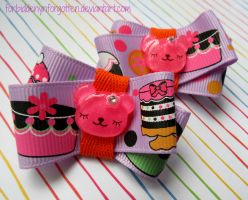 Teddy Bears and Cake Hair Clips by Forbiddenynforgotten
