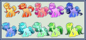 (8 Open) rainbow pony adoptables by CutiePat00tie