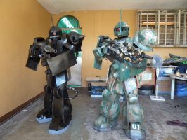 Zaku II and Zaku I Commander Type Customs by eva-guy01
