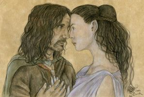 Aragorn and Arwen by SpottedNymph