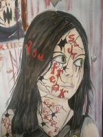 Gothic Girl Surrounded by Contorted Faces #2 by IsabellaTwibell