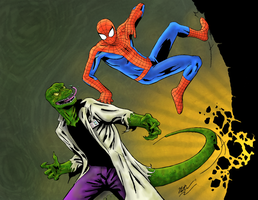 Spider-Man vs. The Lizard by CagsCreations