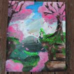 Cherry Blossom Hill Painting by LizChwan