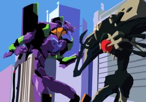 Eva Unit 01 vs Sachiel by templarzz