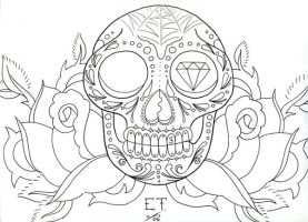 Calavera line drawing by MummysLittleMonster