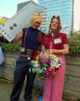 Cloud Strife and Aerith (Aeris) Gainsborough by 93FangShadow