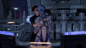 Liara and Kayla: Just for a moment by Grummel83