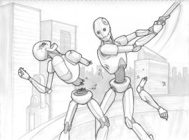 Robot Fight Sketch by Mathavious