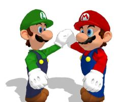 SMG Mario and Luigi for MMD by Sticklover4