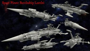 Space Pirate Battleship Lorelei by LoreleiStation