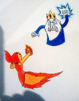 Ice king vs flame princess coloured by Yojama