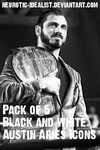 .:Austin Aries Icon Pack: Black and White:. by Neurotic-Idealist