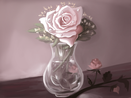 Rose And Vase Still Life by Moondustdreams