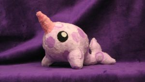 Purple Polka Dot Pudgie Narwhal by WhimzicalWhizkerz
