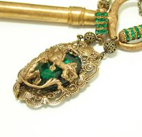 Gothic Necklace Emerald Dragon by byrdldy