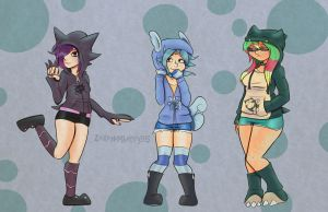 Girls in Pokemon Hoodies by Zekehimberry95